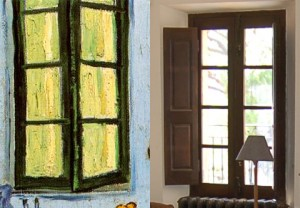 The lounge windows identical to Van Gogh's painting