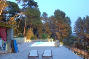 The pool in the evening